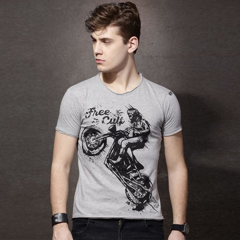 The Ajmery - Men's Scratched Printed T-shirt - Heather Grey