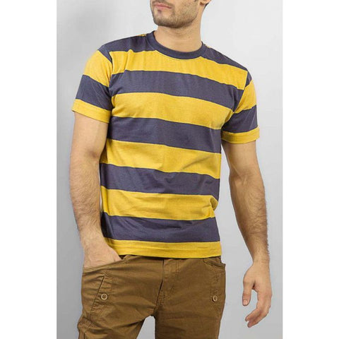 The Ajmery - Striped Cotton T Shirt - Yellow