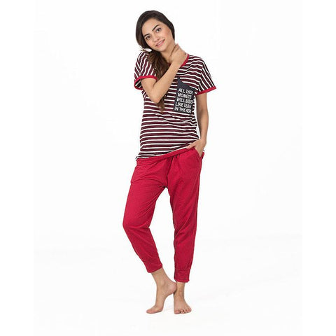 Ajmery Enterprise - Jersey Capri With Maroon & White Stripped T-Shirt For Women - KTY-MW-26 - Maroon
