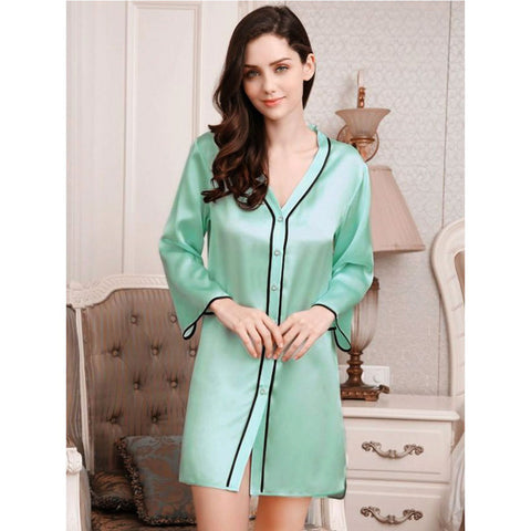 Sleep Shirt with Piping - NS0002-LG - Light Green