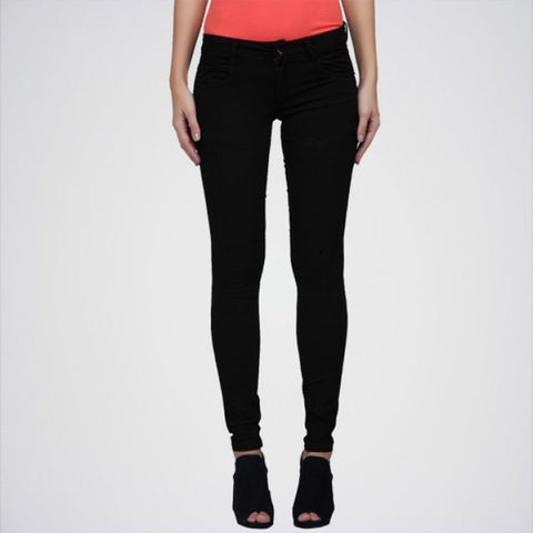 The Ajmery - Women's Solid Jeans - Black