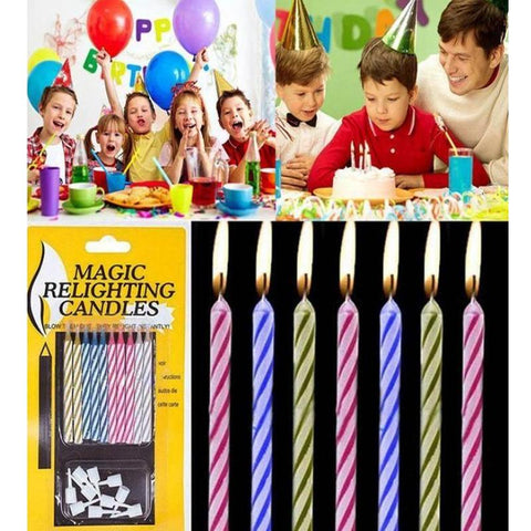 Pack Of 10 Magic Relighting Birthday Candles MultiColor Utopiapk