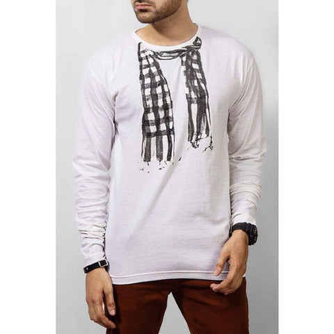 The Ajmery - Jersey Scarf Graphics Long-Sleeves T-shirt - White