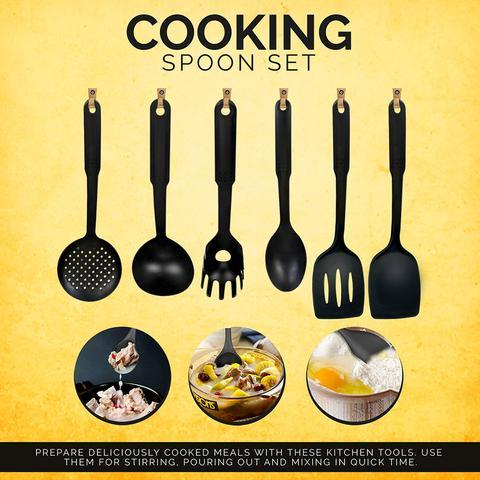 Non-Stick Cooking Utensils - Pack of 6 - Black