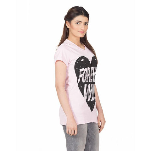 Ajmery Enterprise - Printed Jersey Forever Wild T-Shirt For Women - KTY-BPK-22 - Baby Pink
