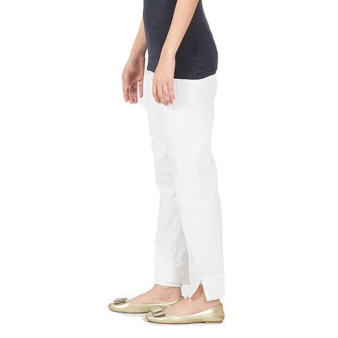 Ajmery Enterprise - Cotton Cigarette Pant For Women - KTY-95 - White