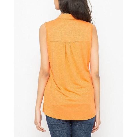 Ajmery Enterprise - Button Down Sleeveless Shirt for Women - KTY-681 - Orange