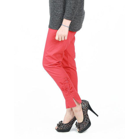 Ajmery Enterprise - Cotton Embroidered Cigarette Pant For Women - KTY-123 - Red