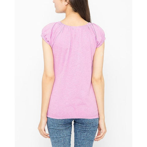 Ajmery Enterprise - Ribbed Round Neck T-Shirt for Women - KTY-670 - Lilac