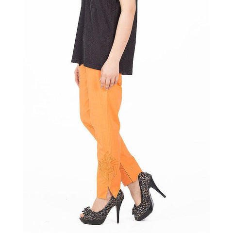 Ajmery Enterprise - Cotton Embroidered Cigarette Pant For Women - KTY-123 - Orange