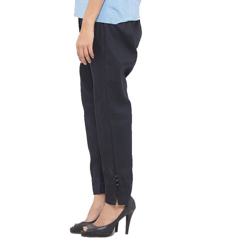 Ajmery Enterprise - Cotton Cigarette Pants For Women - Black