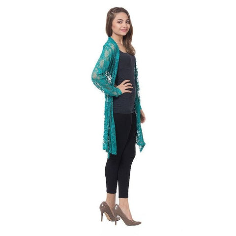 The Ajmery - Net Shrug For Women - Sea Green