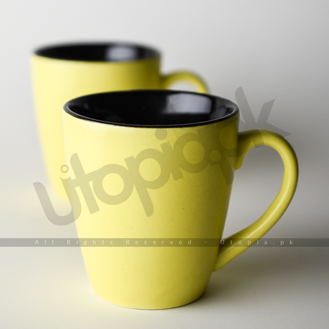Matte Nostalgia Ceramic Cups (0117) - Pack of 6 - Yellow (Inside Multicolor)