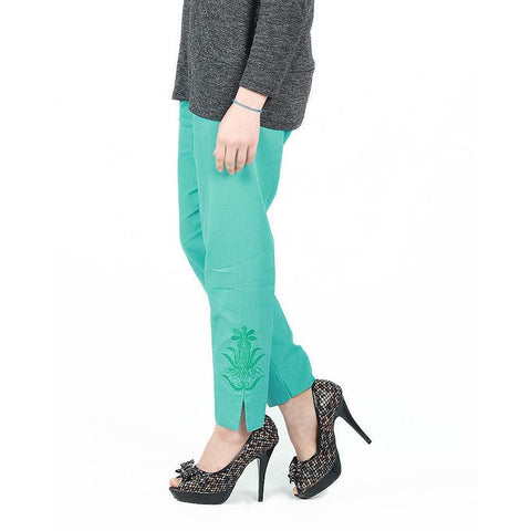 Ajmery Enterprise - Cotton Embroidered Cigarette Pant For Women - KTY-123-SGN - Sea Green