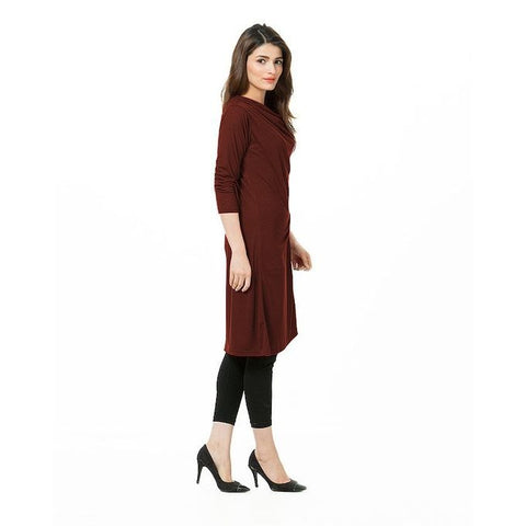The Ajmery - Jersey Tunic With Fancy Buttons for Women - Brown