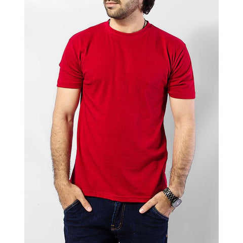 The Ajmery - Cotton T-Shirt - Red & Charcoal