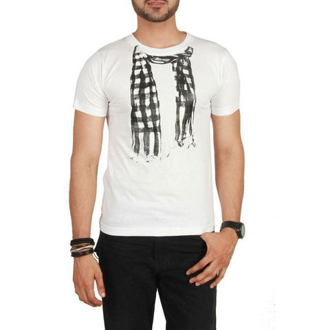 The Ajmery - Jersey Scarf Graphic T-Shirt - White