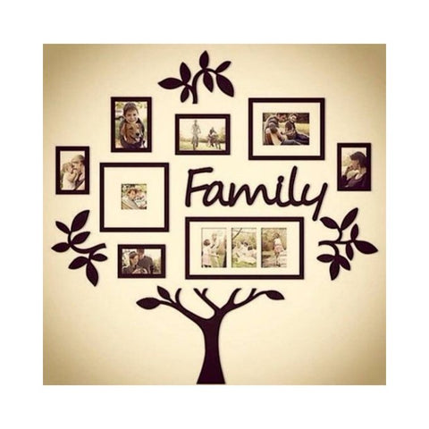 Rubian Family Tree Frame Set Acrylic Wall Art Black Utopia Pk