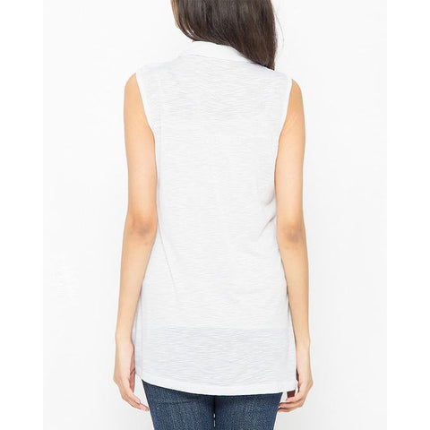 Ajmery Enterprise - Button Down Sleeveless Shirt for Women - KTY-677 - White