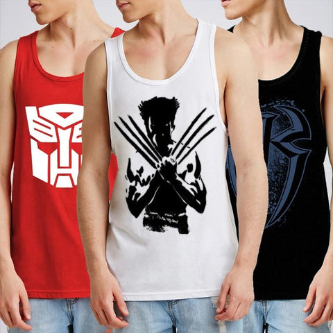 Ajmery Enterprise - Super Hero Gyming Tank Top for Boys Tp-Aj123 - Pack of 3 - Multicolor