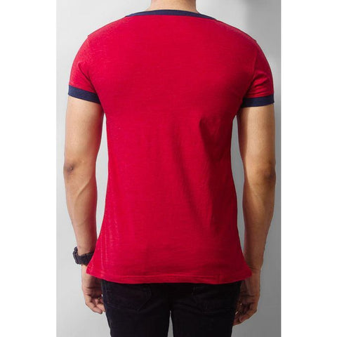 The Ajmery - T-shirt with Blue Round Deep Neck Collar - Red