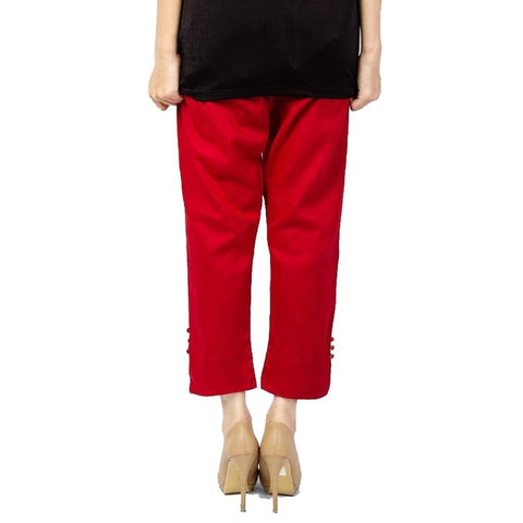 The Ajmery - Cotton Cigarette Pants For Women - Red
