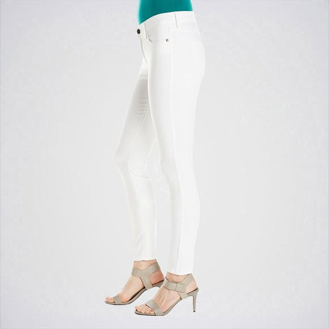 The Ajmery - Women's Mid Rise Skinny Jeans - White