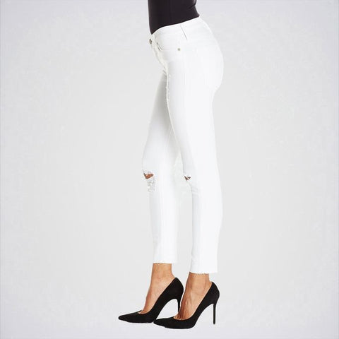 The Ajmery - Women's Mid Rise Ankle Skinny Jeans - White