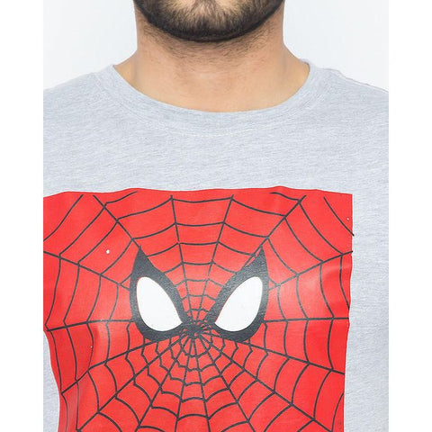 The Ajmery - Cotton Exclusive Spiderman Printed T-Shirt for Men - Heather Grey