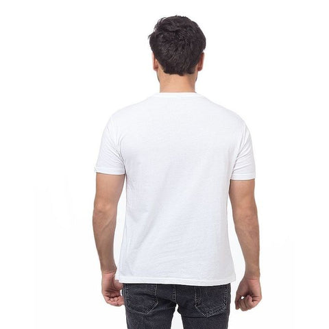 The Ajmery - Cotton Half Sleeves Plain T-Shirt For Men - White