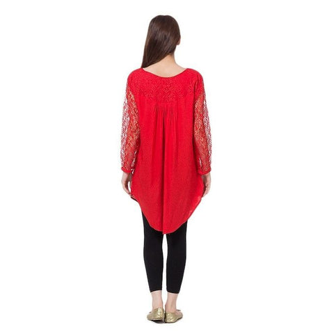 Ajmery Enterprise - Cotton and Net Top For Women - Red