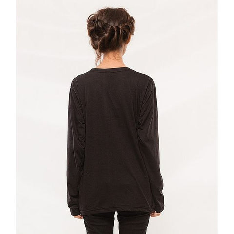 Ajmery Enterprises - Cotton Long Sleeve T-Shirt For Women - GNW-AJWB - Black