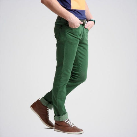 The Ajmery - Men's Slim Fit Cotton Jeans - Green