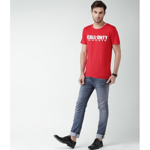 The Ajmery - Call Of Duty Cotton Printed T-Shirt For Men - Red