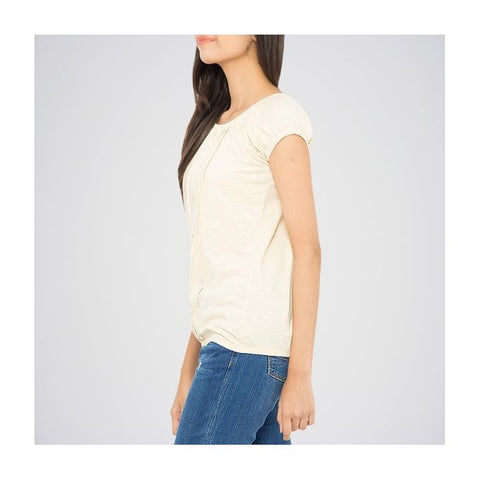 The Ajmery - Ribbed Deep Neck Tunic - Off White