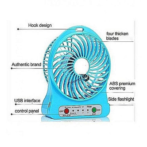 Portable USB Rechargeable Fan - Blue