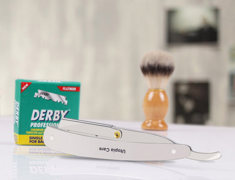 Utopia Care - Professional Barber Straight Edge Razor Safety with 100 Derby Blades - Silver