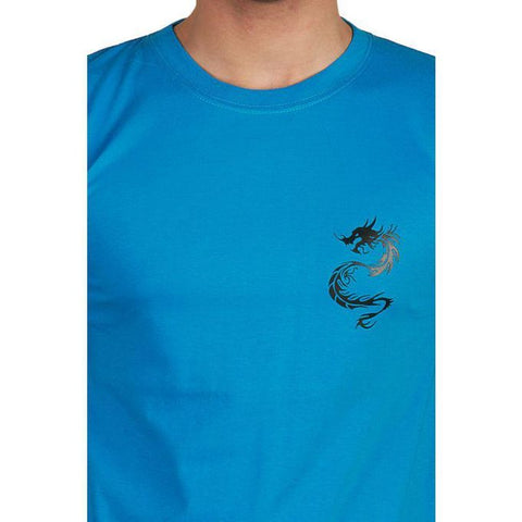 The Ajmery - Jersey Dragon Graphic T-Shirt - Blue