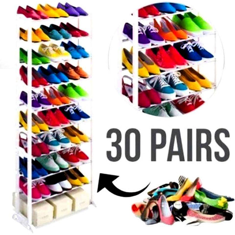 10 Layer Shoe Rack - White