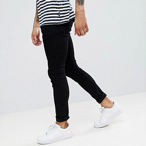 Super Skinny Jeans With Knee Rips For Men - If-Hm37 - Black