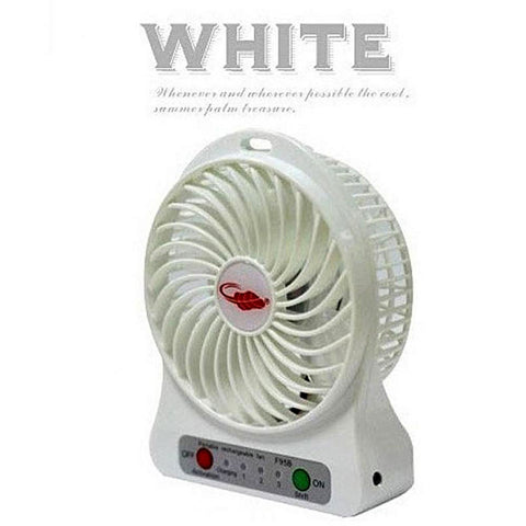 Portable USB Rechargeable Fan - White