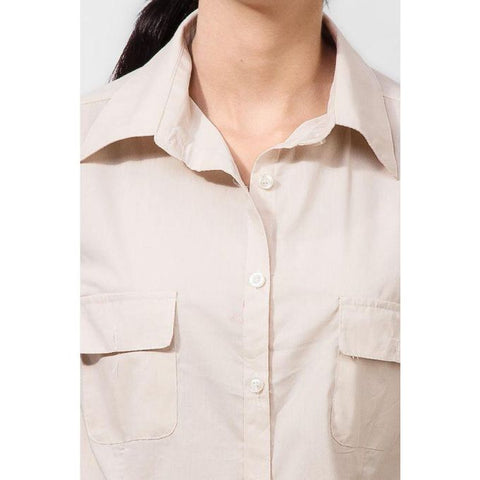 Ajmery Enterprise - Cotton Formal Camp Shirt with Dual Pockets - Cream