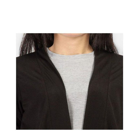 The Ajmery - Cotton Long Shrug - Black