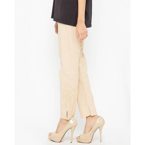 Ajmery Enterprise - Cotton Embroidered Cigarette Pant for Women - AJ-653 - Beige