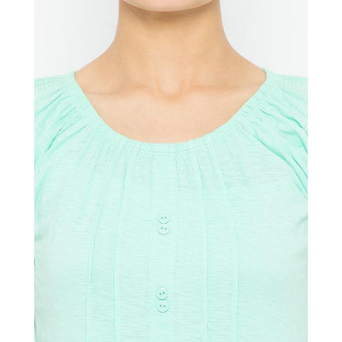 Ajmery Enterprise - Ribbed Round Neck T-Shirt for Women - KTY-673 - Mint Green