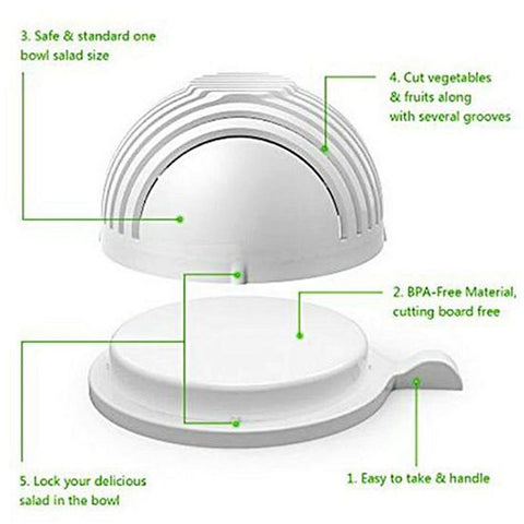 Salad Cutter Bowl - White