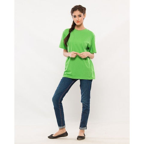Ajmery Enterprises - Women's Short Sleeve Solid T-Shirt - KTY-C269 - Light Green
