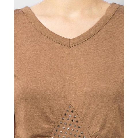 Ajmery Enterprise - Viscose Tunic with Studs on Front - Brown