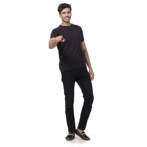 Ajmery Enterprise - Cotton Half Sleeves Plain T-Shirt For Men - Black
