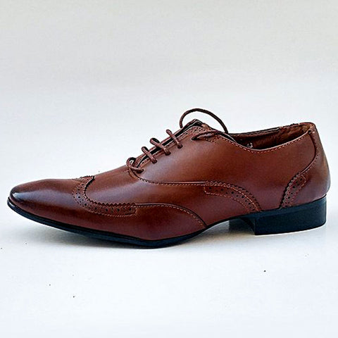 Brouge Stitched Design Formal Shoes for Men - FS-76 - Coffee